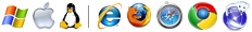 Logo di MS Internet Explorer, Mozilla Firefox, Safari, Chrome e Iceweasel